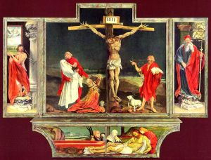 Isenheim Altarpiece, sculpted and painted by, respectively, Niclaus of Haguenau and Matthias Grünewald.